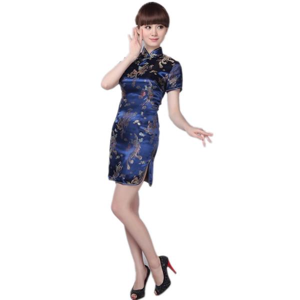 Navy blue Oriental Lady Traditional Chinese style Mini Cheongsam Dresses Women Mandarin Collar Silm Qipao dress Size S-XXL