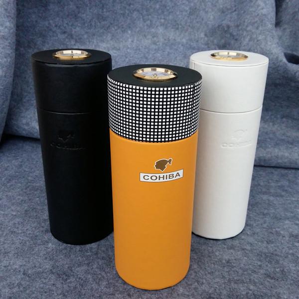 COHIBA cigarro cuero de la caja de madera del cedro tubo forrado Mini Humidor de viaje caja con Long humidificador higrómetro CJ191128