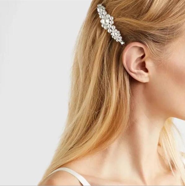 Hair Clips for Women Girls simple temperament handmade beaded pearl flower hairpin retro court word clip bangs clip