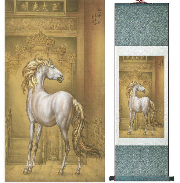 Traditional Chinese Art Painting Horse Silk Scroll Art Painting Horse Painting 042001