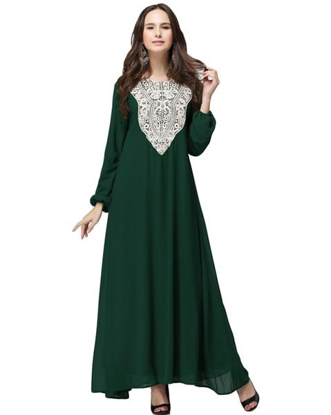 Muslim Women Plus Size Chiffon Maxi Dress Applique Round Neck Long Sleeve  Abaya Islamic Casual Robe Kaftan Turkish Long Dress Long Dresses Women ...