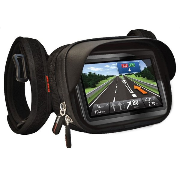 Waterproof GPS Mount holder case with suncap touchable screen for 4 to 5 inch TOMTOM GARMIN GPS to tie on motorcycle handlebar