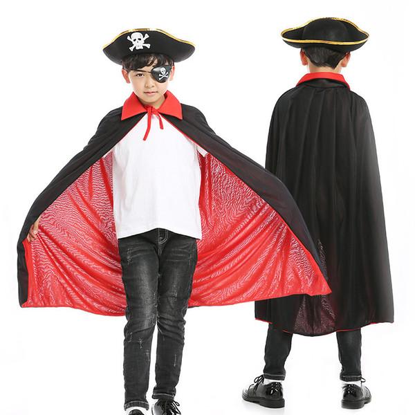 Atacado Halloween Red Black Cosplay Manto Pirata Set com Cloak Eye Patch Hat para menina e menino