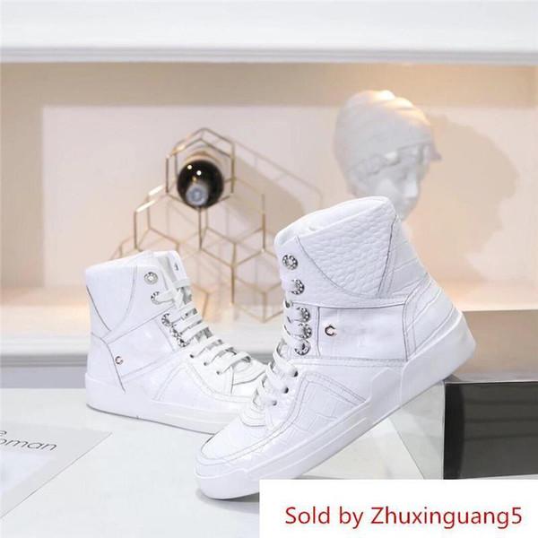 Chaussures de luxe pour dames en cuir de veau gaufré façon crocodile gaufré blanc blanc cuir noir