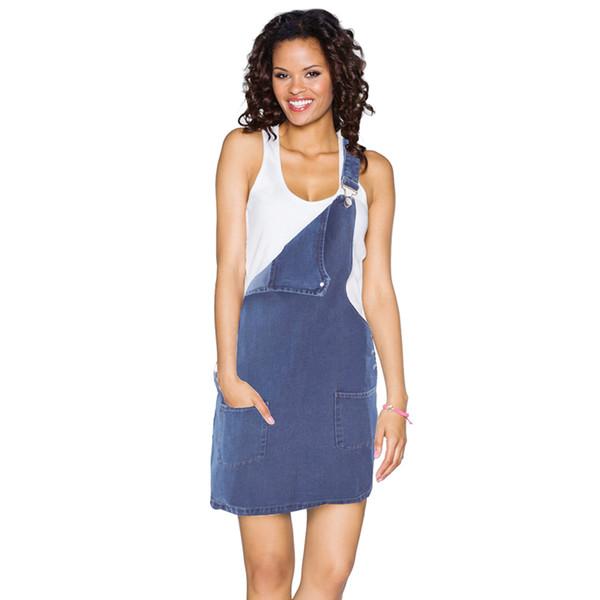 Denim Dress Summer Women Vintage Mini Sleeveless High Waist Casual Adjustable Strap Youthful Slim Ladies Jeans Overall Dresses