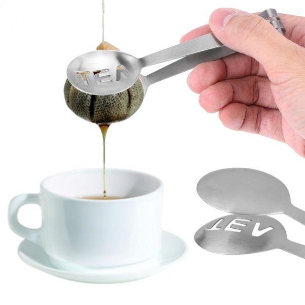 Promotion Edelstahl-Tee-Clips Tasche Tongs Squeezer Sieb-Halter-Griff Löffel Mini Zucker Tea Clip-Sieb-Küche-Stab-Werkzeug
