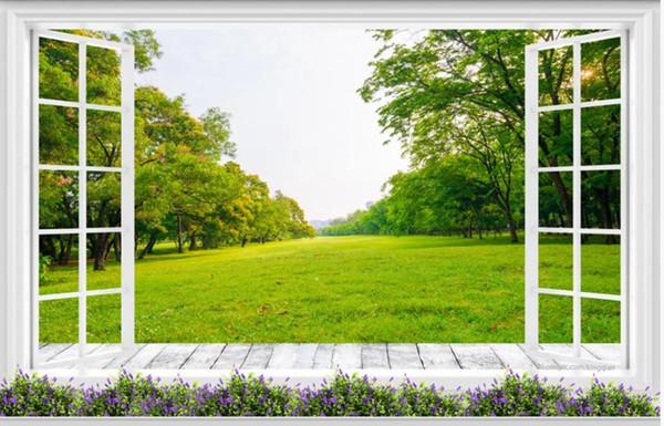 Boden bis zur Decke Gras Waldlandschaft 3d Hintergrund Wand moderne Wohnzimmer Tapeten
