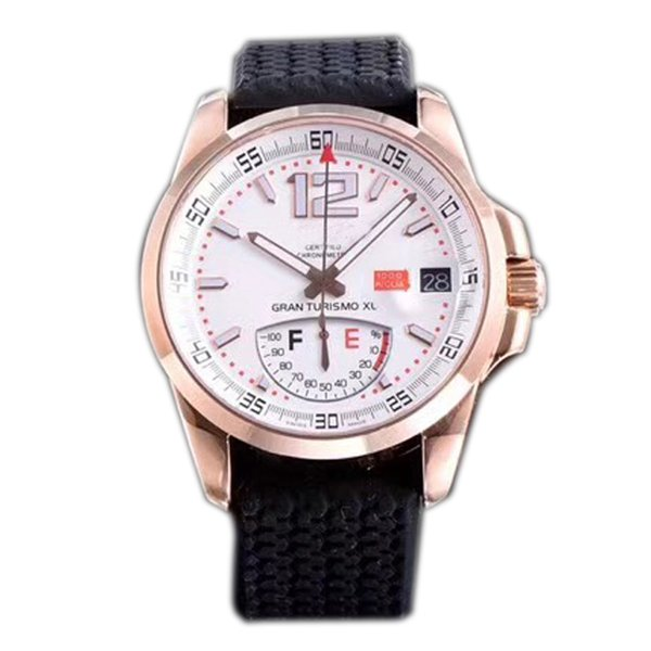 Best Edition Miglia GT XL 168457-3001 Rose Gold Real Power Reserve White Dial ETA A2824-2 Automatic Mens Watch Black Rubber Strap New FK.f06
