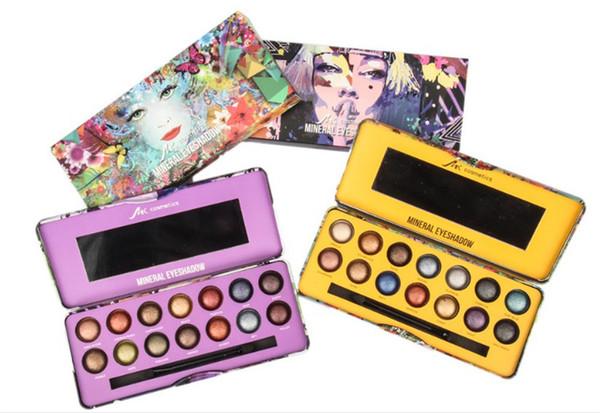 Marque New Makeup MK Cosmetics 14 Couleurs Glitter Ombre À Paupières Palette Au Four Métallisé Fard À Paupières Smoky Nude Avec Brosse