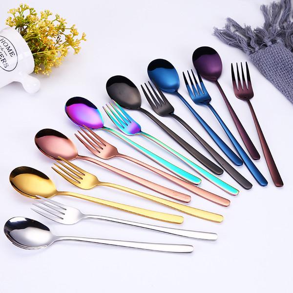 304 tenedores de acero inoxidable cucharas 20.5 cm largo titanio plateado vajilla de oro té café cuchara de hielo cuchara de hielo