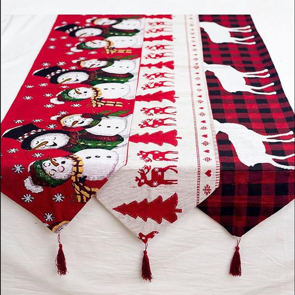 Baumwolle bestickt Weihnachten Tischläufer 180 * 35cm Deer Weihnachtsbaum Tischläufer Tuch-Abdeckung für Home Neues Jahr-Dekoration Y191104