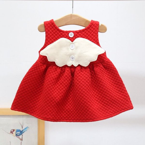 Christmas Dress For Baby Girls Party Princess Dress Autumn Winter Toddler Kids Wedding Baby Girls Clothes With Wing 0-2 Years Y19050801