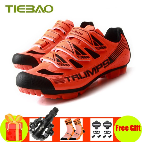 Tiebao Professional MTB Zapatillas de ciclismo Hombres Mujeres SPD Pedales Transpirables Anto-lock Riding Bicycle Bike Shoes Mountain Bike