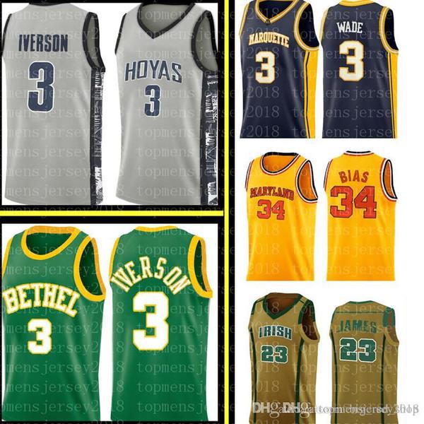 best selling Allen 3 Iverson Dwyane 3 Wade Jersey Len 34 Bias Mens University high school Basketball Jerseys Embroidery Logos S-XXL