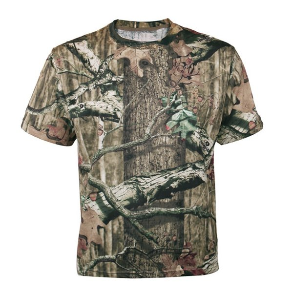 Men Outdoor Breathable Summer Hunting T-shirt Men's Bionic Camouflage Shirt Short Sleeve Quick Dry Tactical Shirt Large Size 3XL