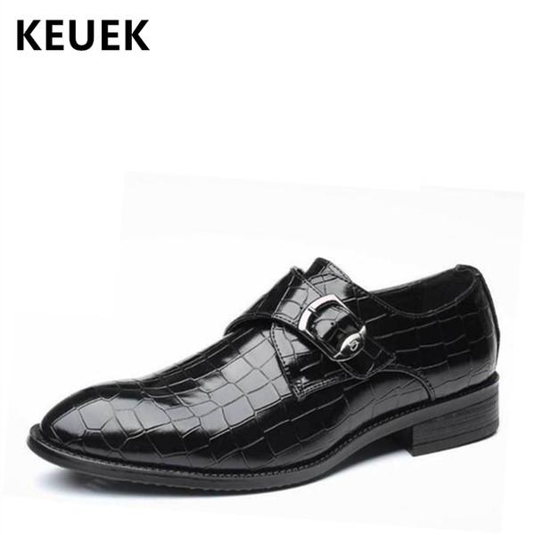 Moda para hombres Zapatos de vestir de negocios Estilo británico Punta estrecha Zapatos de cuero casuales Tamaño grande Hombre Oxford 02C