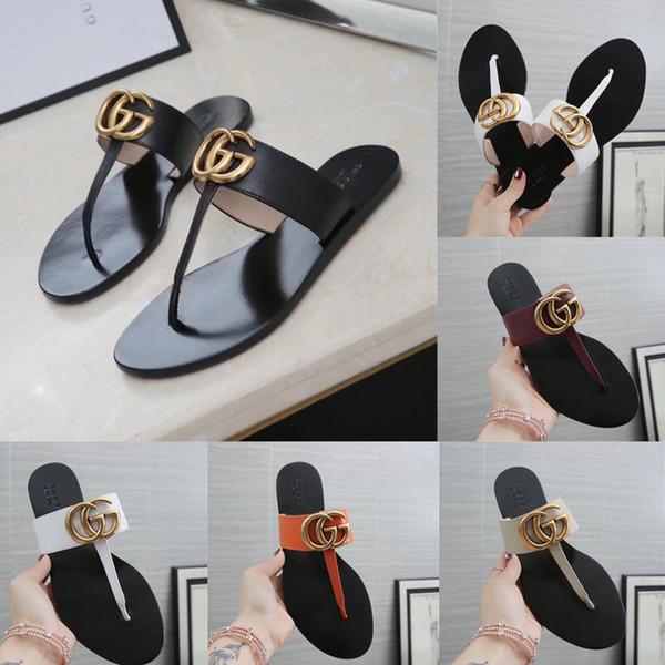 Sandali infradito in pelle per donna Sandali infradito donna Pantofole Luxury Luxury Sandali per donna con scatola