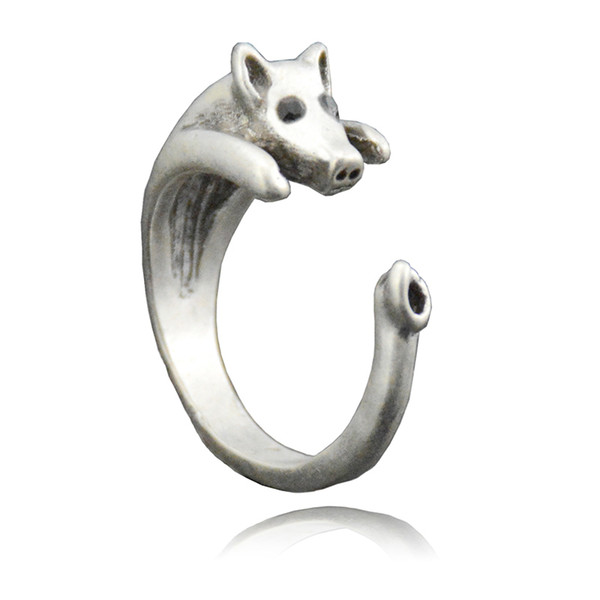 Hot Sale Vintage Silver Retro Lucky Pig Ring Fashion Jewelry For Women Ladies And Girls Animal Ring Children Unique Kids Gift Wholesale