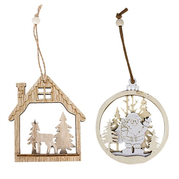 Christmas Wooden Tree Pendants DIY Ornaments For Christmas Party Decoration