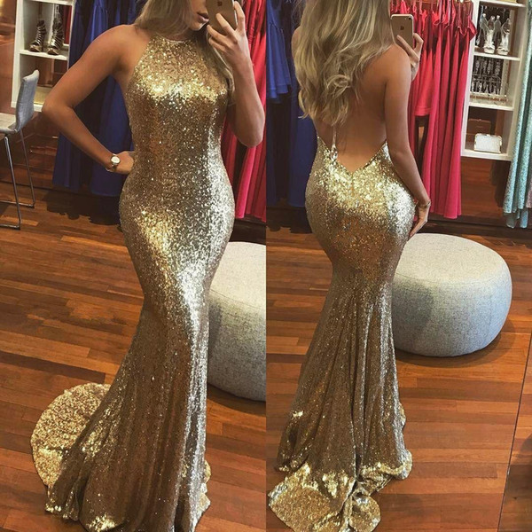 Sparkling Gold Sequined Halter Prom Dresses Sexy Backless Sleeveless Mermaid Evening Dresses Long Women Party Gowns