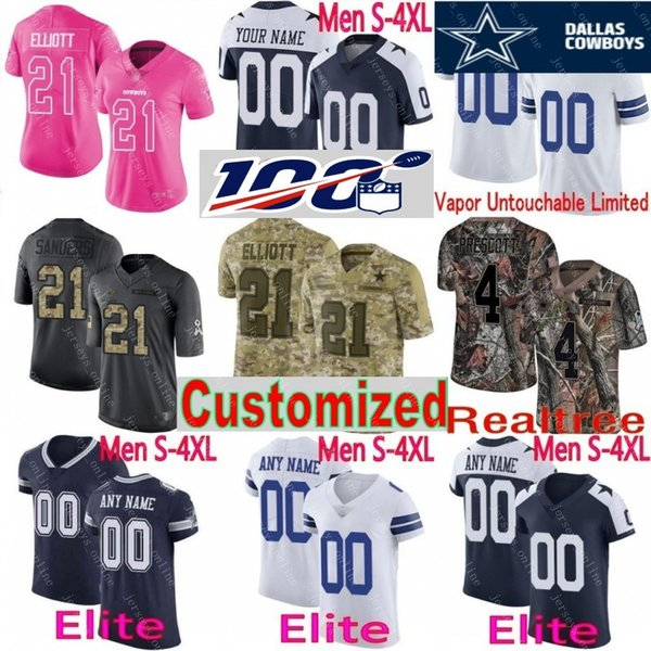 quality design 505f5 6e5a9 2019 100th Anniversary Custom Men Youth Women Dallas Ezekiel Elliott Dak  Prescott Jason Witten Emmitt Smith Cowboys Camo Cooper Elite Jersey From ...