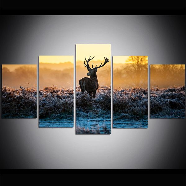5 Piece Large Size Canvas Wall Art Elk on the Autumn Steppe Oil Painting Wall Art Pictures for Living Room Paintings Wall Decor