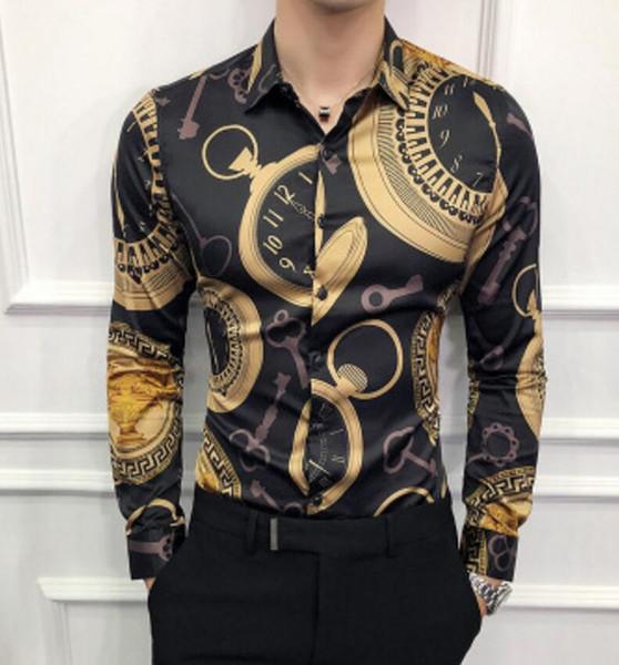 2019 Nuovo tipo Vestiti da uomo Camicie maniche lunghe polo Stilista per il tempo libero T-shirt Cantante di grandi dimensioni T-shirt 2 colori M-4XL cappotto caldo
