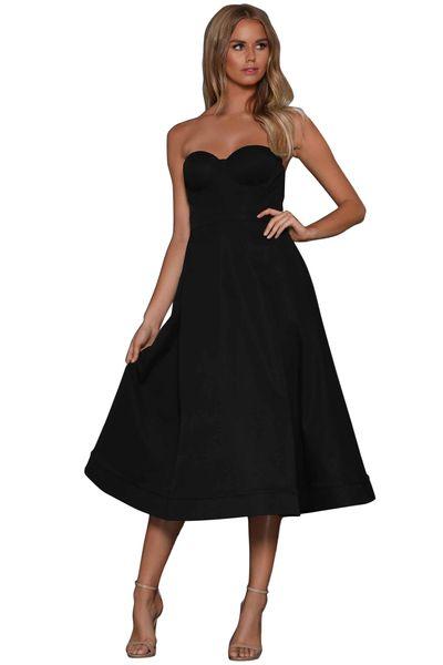 Style bustier des femmes de robe plissée Sexy robe mi-longue solide sans bretelles A-ligne serrer la taille robe de soirée Robe De Fiesta MS621490