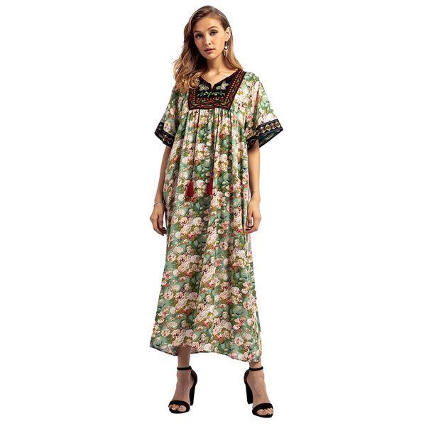 Женская Ближний Восток Дубай Большой Размер Вышивка Печати Арабские Платья Платье Женская Одежда С Коротким Рукавом V Шеи Длинное Платье Макси