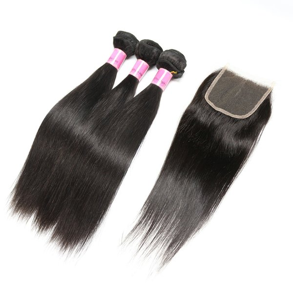 Ais Hair Indian Virgin Hair With Closure Extension 3 Bundles Straight With 4x4 Closure Unprocessed 100% Remy Human Hair Weave
