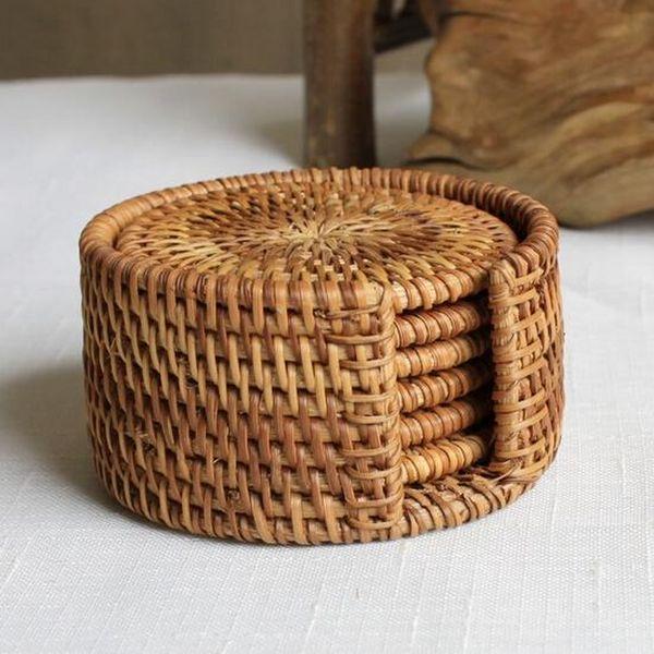 Hot sales Rattan Cup Coasters Set Pot Pad Table Mat 6 Sizes Porta Copos Placemats Home Decoration Vintage Bamboo Handmade