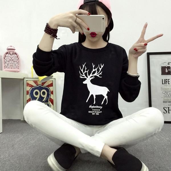 Women Christmas Kawaii Deer Print Casual Sweatshirt Pullover Tops Black White Spring Fall Harajuku Girls Sweatshirt