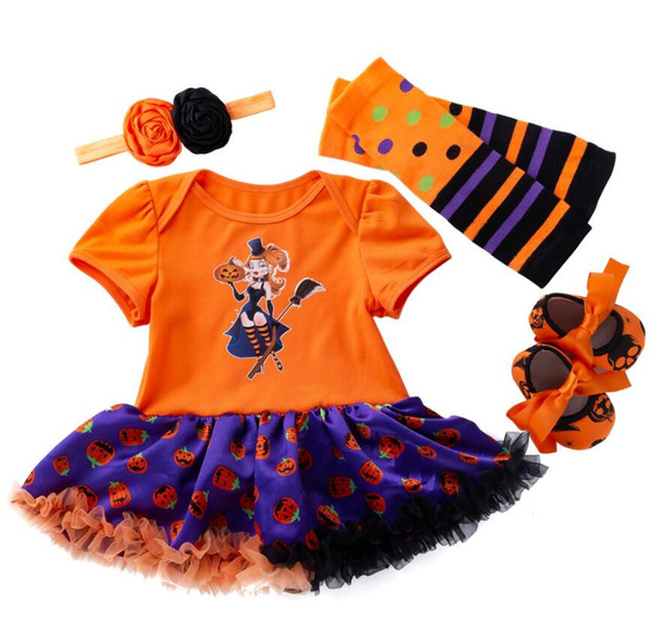 Cotton Baby Girls Clothes 4pcs/set Halloween Dress Party Dresses for Girl Toddler Kids Baptism Gown Tutu Outfits with Headband
