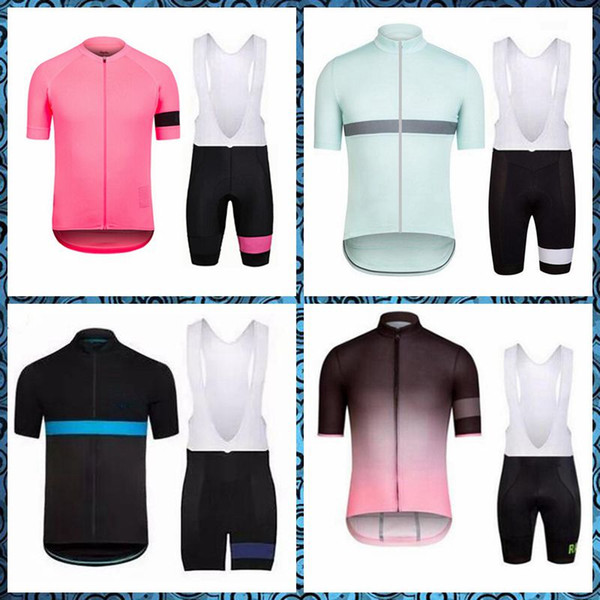 top popular RAPHA team Cycling Short Sleeves jersey bib shorts sets Outdoor Bicycle 2019 New 3D Gel Padded Summer Style Mtb Maillot Ciclismo U50811 2019