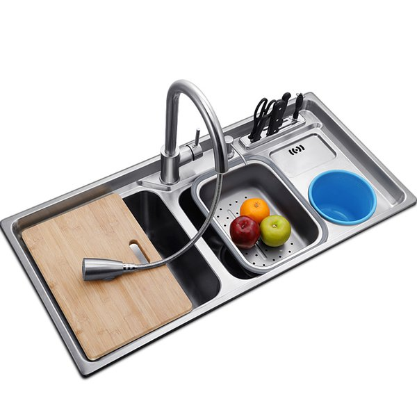 top popular multifunctional kitchen sink Stainless steel brushed double bowl Drawing drainer hot and cold water faucet sink 2021
