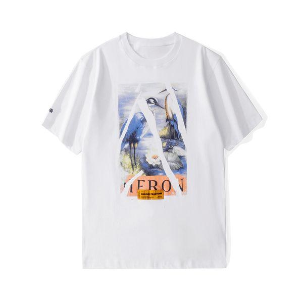 Héron Preston T-shirt Hommes Femmes Designer Crane Imprimer À Manches Courtes T-shirt Blanc Pour Les Hommes Décontracté Coton À Manches Courtes