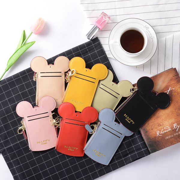 Coin Pusre Name Credit ID card Bag Mini Card Package Cartoon Ear Happy Dream Lanyard Neck Strap Card Slot Holder Kids Adults A52201