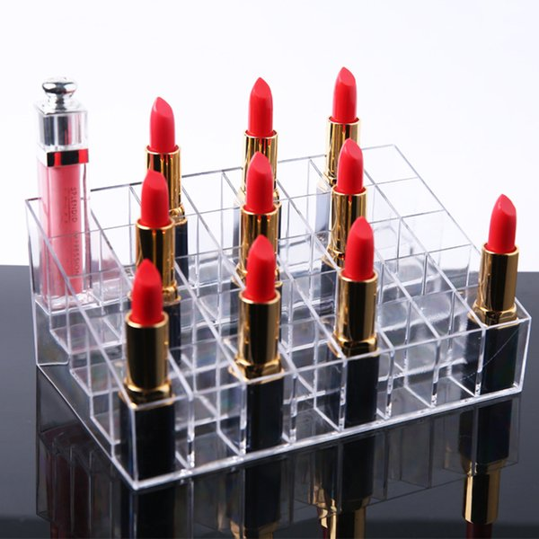 1pc 40 Spaces Cosmetic Lip Gloss Makeup Holder Organizer Display Stand For Women Girls Home Storage Case Box Transparent