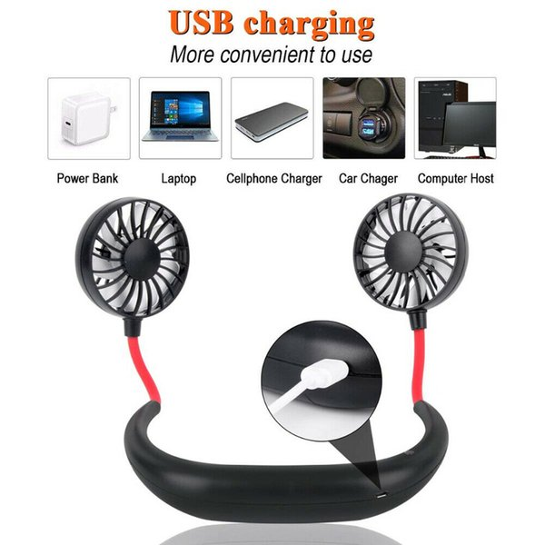 LED Lazy Neck Hanging Dual Mini Cooling Fan Sports Portable USB Rechargeable