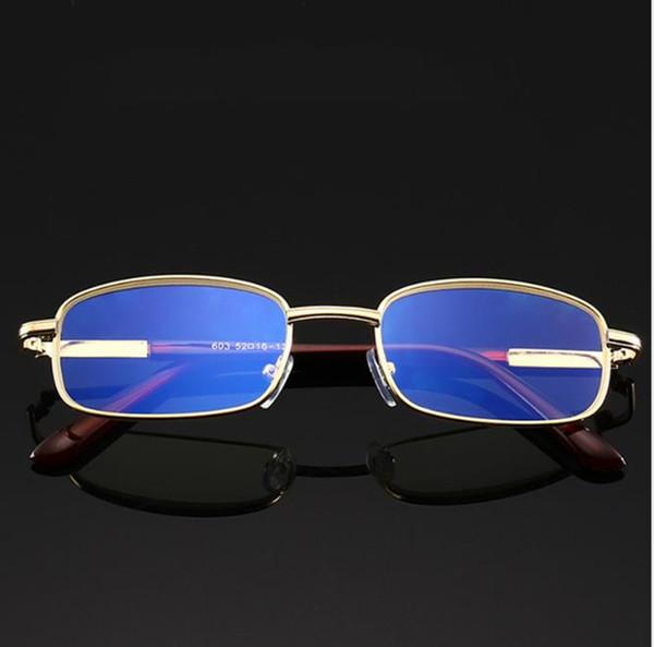 Miroir presbytique en métal Plein cadre lunettes de lecture de lunettes de vue anti-bleues jambes dorées
