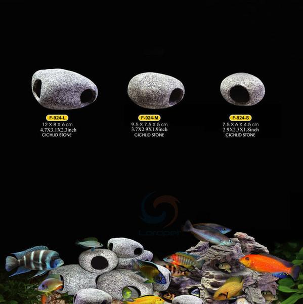 decoro Cichlid Stones Decorazione in grotta di roccia in ceramica per Fish Tank Ornament 3 Dimensioni filtro e pompa per acquario
