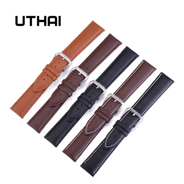 Cheap bands UTHAI Z24 22 Band Leather Watch Straps 10-24mm Watchbands Watch Accessories High Quality 20mm strap