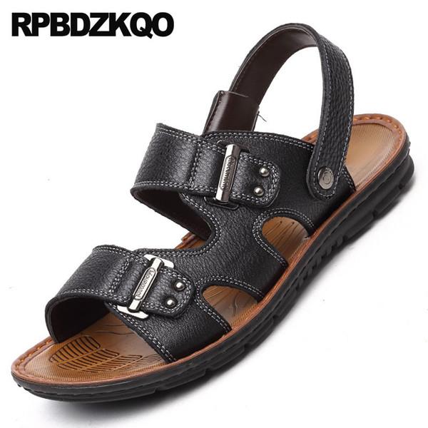 Cinta de água ao ar livre dos homens sandálias de couro verão moda 2018 à prova d 'água slides sapatos deslizamento respirável em chinelos pretos praia