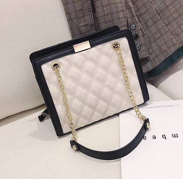 brand women bag winter new diamond shoulder bag large capacity leather fashion chain bag Joker embroidered line diamond shoulder Messenger b