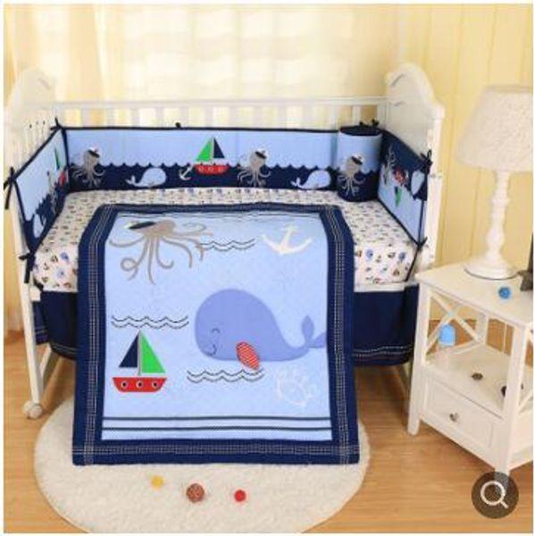 New Brand Baby Cuna Quilt for boy Crib bedding set Happy ocean Crib bumper set 7Pcs Baby quilt Bumper Skirt Mattress Cover