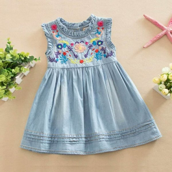 Baby Kid Children Girls Floral Embroidery Dress Denim Jeans Sleeveless Princess Summer Autumn Clothes Dresses Blue color