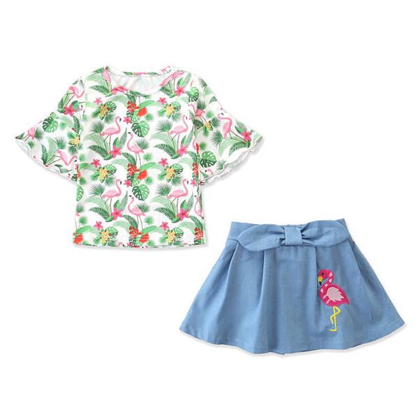 Ins Summer flamingo niñas trajes dulces niños ropa de diseñador trajes de niñas blusa tops + falda de mezclilla niños boutique ropa niños conjuntos A7393