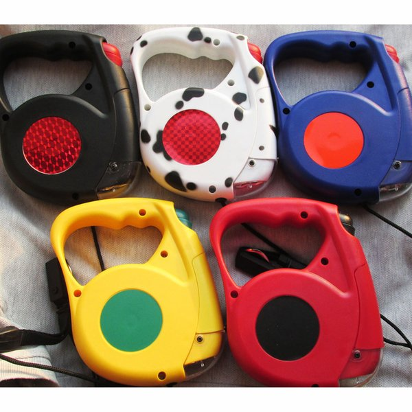 10pcs/lot Mixed Colors 4.5 meters Retractable Dog Leash Extending Puppy Walking Leads with Flashlight