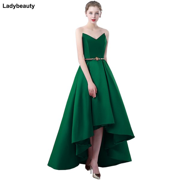 Ladybeauty 2018 Satin Dress Party Prom Gown Formal Short Evening Dress Sweetheart High-low Simple Style Gown Y19042701