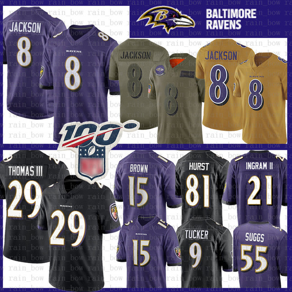 baltimores 8 lamar jackson raven jersey 29 earl thomas 15 marquise brown 9 justin tucker 55 terrell suggs 22 mark ingram ii 81 hayden hurst, Black;red